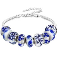 Blue and White Glass Bead Charm Bracelet