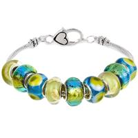 Caribbean Blue Green Glass Bead Charm Bracelet