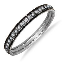 Black Rhinestone and White Crystal Bangle (Medium)