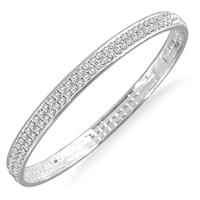 White Crystal Bangle Bracelet (Medium)