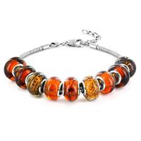 Hand Blown Fall Special Amber Glass Bead Bracelet in Plated Sterling Silver