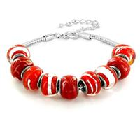 Hand Blown Red Glass Bead Bracelet in Plated Sterling Silver
