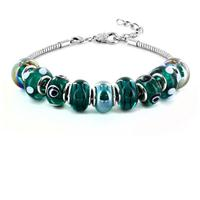 Hand Blown Marine Blue Glass Bead Bracelet in Plated Sterling Silver