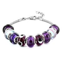 Hand Blown Purple Glass Bead Bracelet in Plated Sterling Silver