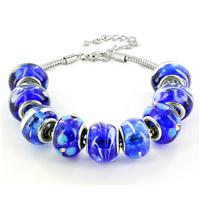 Hand Blown Blue, White and Black Glass Bead Bracelet in Plated Sterling Silver