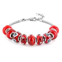 Hand Blown Cherry Red Glass Bead Bracelet in Plated Sterling Silver