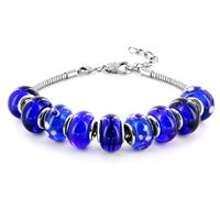 Hand Blown Royal Blue Glass Bracelet in Plated Sterling Silver