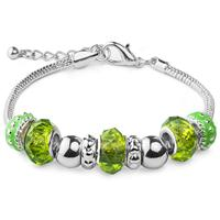 Green Glass Bead with Silver Charm Bracelet in Plated Sterling Silver