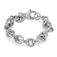 Oval Double Circle Link Bracelet in .925 Sterling Silver