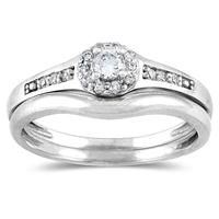 1/4 CTW Diamond Bridal Set in 10K White Gold