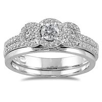 1/2 CTW Diamond Bridal Set in 10K White Gold