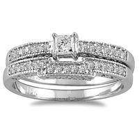 1/2 CTW Princess Diamond Bridal Set in 10K White Gold
