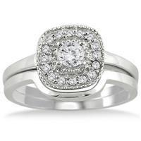 1/3 Carat Diamond Halo Bridal Set in 10K White Gold