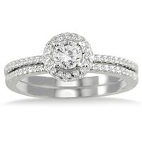 5/8 Carat TW Diamond Halo Bridal Set in 10K White Gold