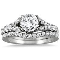 IGI Certified 1 3/4 Carat Diamond Bridal Set in 14K White Gold (I-J Color, I2-I3 Clarity)