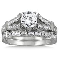1 1/3 Carat Diamond Bridal Set in 14K White Gold (J-K Color, I2-I3 Clarity)