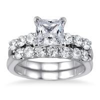 2.00 Carat Princess Diamond Bridal Set in 14K White Gold