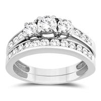 1 1/2 Carat Three Stone Diamond Bridal Set in 10K White Gold