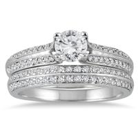7/8 Carat White Diamond Bridal Set in 14K White Gold