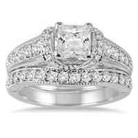 1 5/8 Carat Princess Cut Diamond Bridal Set in 14K White Gold