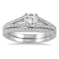 4/5 Carat Diamond Bridal Set in 14K White Gold