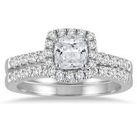 1 1/2 Carat Cushion Cut Diamond Halo Bridal Set in 14K White Gold