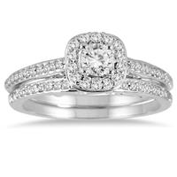 5/8 Carat TW Diamond Halo Bridal Set in 14K White Gold