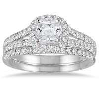 1 3/4 Carat Cushion Cut Diamond Bridal Set in 14K White Gold