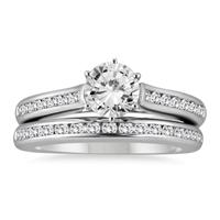 1 3/5 Carat Diamond Bridal Set in 14K White Gold