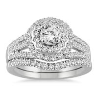 1 3/4 Carat TW Diamond Bridal Set in 14K White Gold