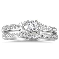 1/2 Carat TW Diamond Bridal Set in 14K White Gold