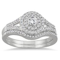 1/2 Carat TW Diamond Double Halo Split Shank Bridal Set in 10K White Gold