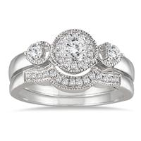 1/2 Carat Antique Diamond Bridal Set in 10K White Gold
