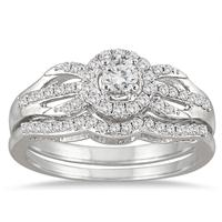 1/2 Carat TW Antique Diamond Bridal Set in 10K White Gold (K-L Color, I2-I3 Clarity)