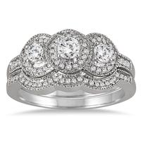 3/4 Carat Three Stone Antique Diamond Bridal Set in 10K White Gold