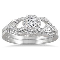 1/2 Carat Diamond Bridal Set in 10K White Gold