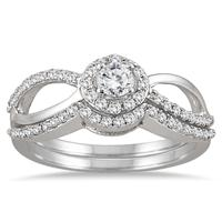 1/2 Carat TW Diamond Open Infinity Bridal Set in 10K White Gold