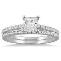 1 Carat Princess Cut Diamond Bridal Set in 14K White Gold
