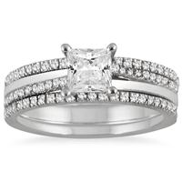 1 1/8 Carat Princess Cut Diamond Three Piece Bridal Set in 14K White Gold