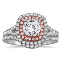 1 3/4 Carat Diamond Bridal Set in 14K Rose and White Gold