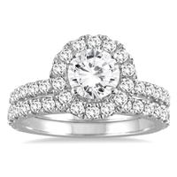 2 Carat TW Diamond Halo Bridal Set in 14K White Gold
