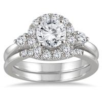 1 1/2 Halo Diamond Halo Bridal Set in 14K White Gold