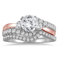 1 1/2 Carat TW Diamond Bridal Set in Two Toned 14K Pink and White Gold
