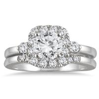 1 3/5 Carat Diamond Halo Engagement Bridal Set in 14K White Gold