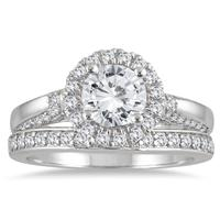 1 3/4 carat Diamond Halo Bridal Set in 14K White Gold