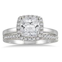1 1/3 carat Cushion Diamond Bridal Set in 14K White Gold