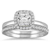 1 1/4 Carat Cushion Cut Diamond Halo Bridal Set in 14K White Gold