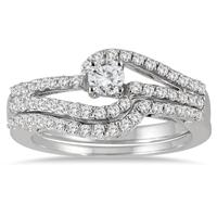 3/4 Carat Diamond Bridal Set in 10K White Gold
