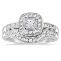 5/8 Carat Halo Princess Cut Diamond Bridal Set in 10K White Gold