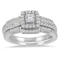 7/8 Carat Princess Diamond Halo Bridal Set in 10K White Gold